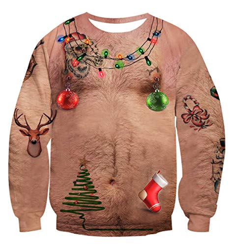 a566a76c Ugly Sweater Contest Show Stopper OR Competition Winner! – Uideazone  Men-Women-Unisex 3d Ugly Christmas Chest Hair Sweater Funny X-mas Party  Graphic Tee ...
