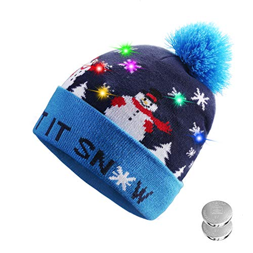 0c636608897 Adorable LED Light Up Holiday Beanie With 6 Colorful LEDs Christmas Knit  Winter Beanie Hat Holiday Cap – A Holiday Beanie That is Sure to Stand Out  And Keep ...